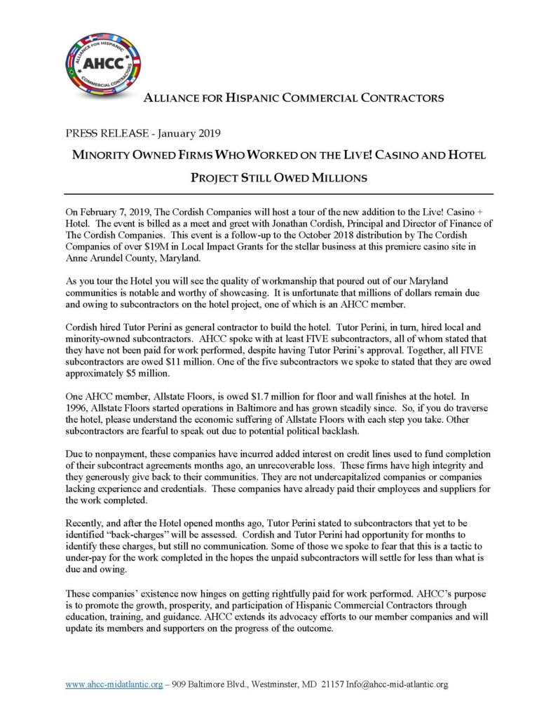 Press Release Minority Owned Firms Who Worked on the Live Casino Still Owed Millions