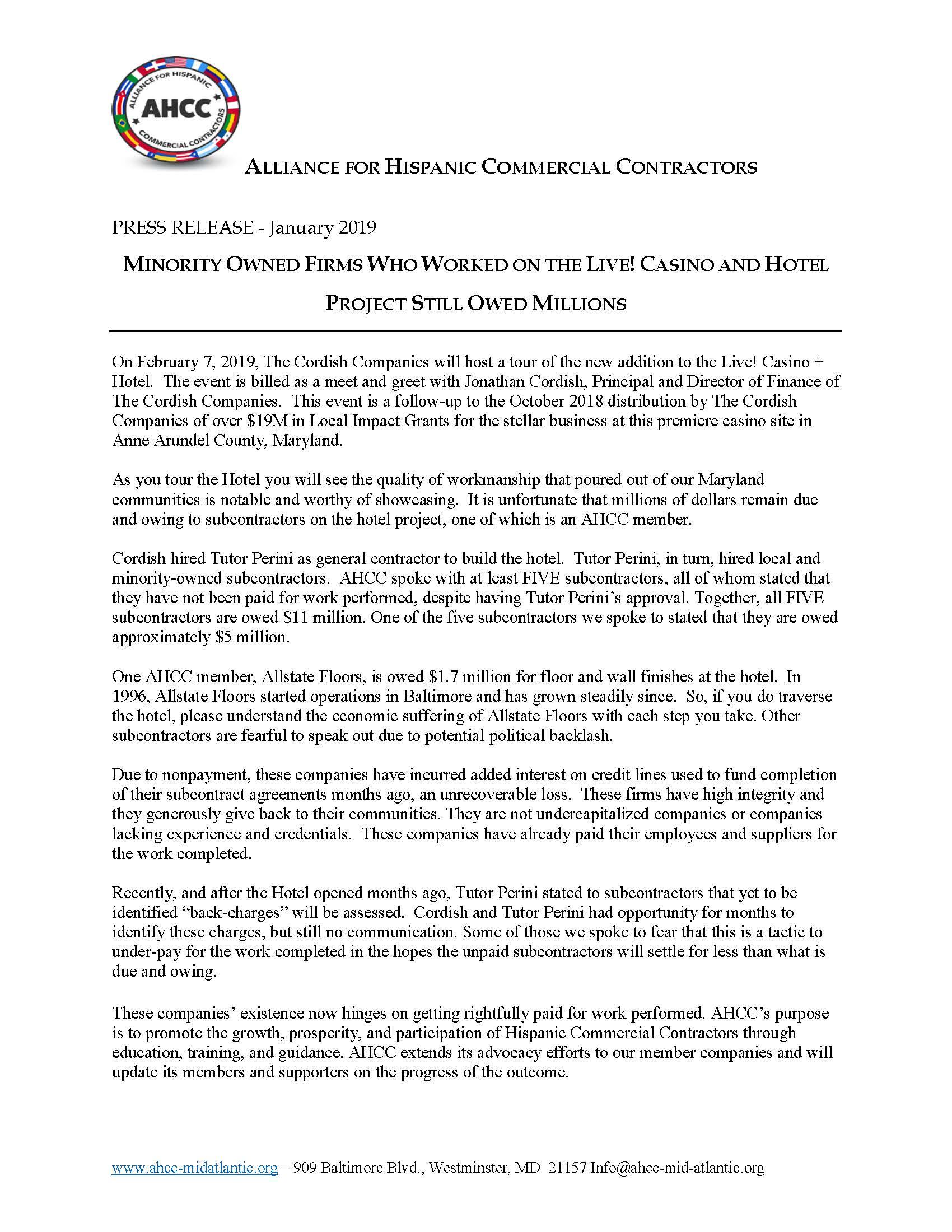 PRESS RELEASE Allstate Floors re Casino Final - AHCC